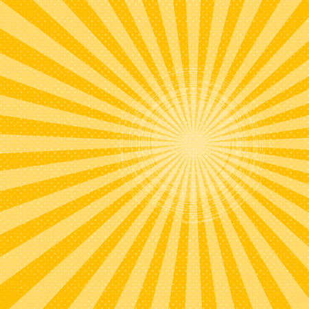 Bright sunbeams background with yellow dots. Abstract background with halftone dots design. Vector illustration. Illustration