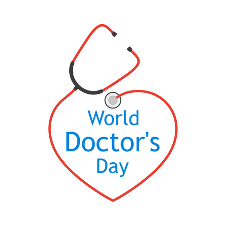 World Doctors Day with stethoscope in a flat design.