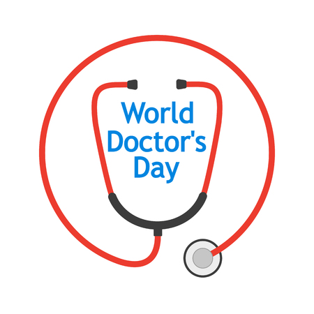 World Doctor's Day with stethoscope in a flat design. Vector illustration. Vettoriali