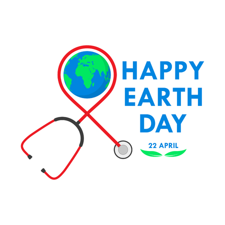 Happy Earth Day background with stethoscope in flat design. Vector illustration. Happy Earth Day, ecology concept.