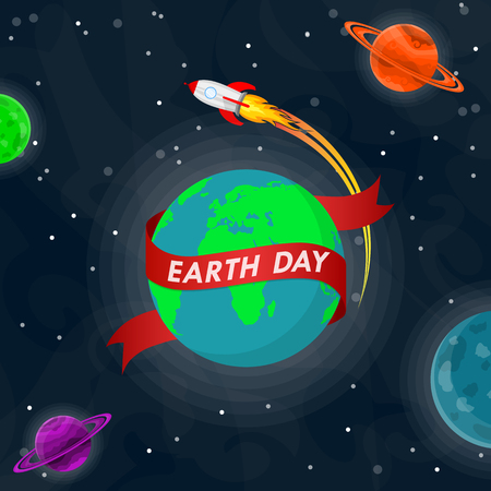 World Earth Day poster with Earth globe and rocket in outer space in flat design. Vector illustration. Earth globe with red ribbon, ecology concept