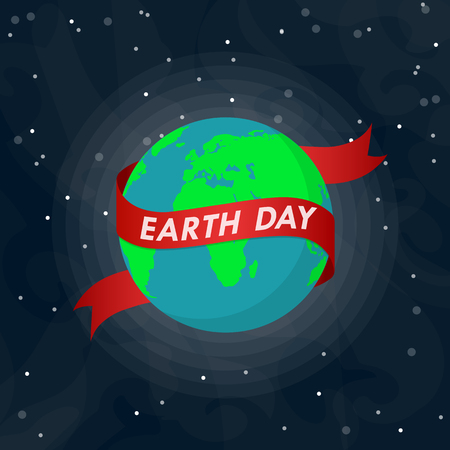 World Earth Day poster with Earth globe and ribbon in outer space in flat design. Vector illustration. Earth globe with red ribbon, ecology concept