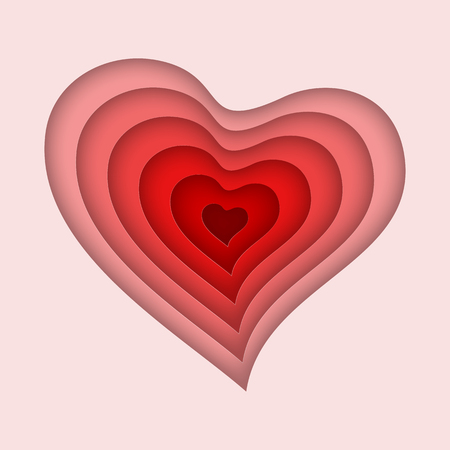 Red Heart in paper cut style. Vector illustration. Valentines day greeting card template. Love concept