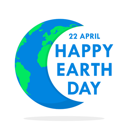 World Earth Day poster with Earth globe and lettering. Vector illustration. Ecology concept, poster in flat design