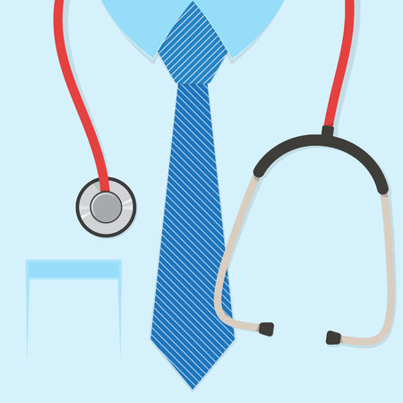 A doctors suit or lab coat with stethoscope. Vector illustration. Illustration