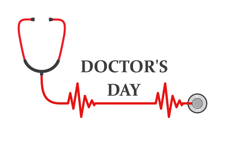 Doctors day logo with lettering and sign of stethoscope. Vector illustration. Medical cute background for Doctors day. Health day