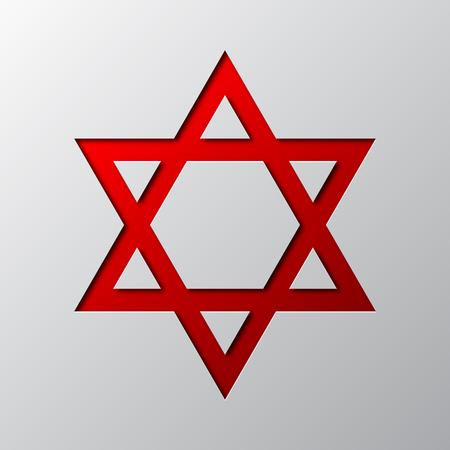Papierkunst des roten Davidstern lokalisiert . Vektor-Illustration . Davidstern ist Papier aus Papier