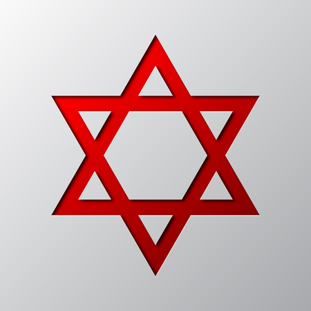 Paper art of red Star of David isolated. Vector illustration. Star of David icon is cut from paper.