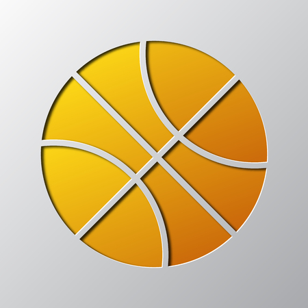 Paper art of the yellow ball isolated vector illustration. Ball icon is cut from paper.