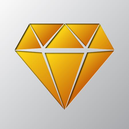 Paper art of the yellow diamond vector illustration isolated on gray. Reklamní fotografie - 99611154
