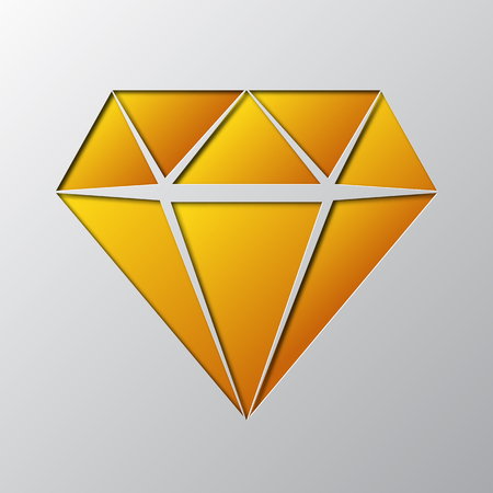 Paper art of the yellow diamond vector illustration isolated on gray.