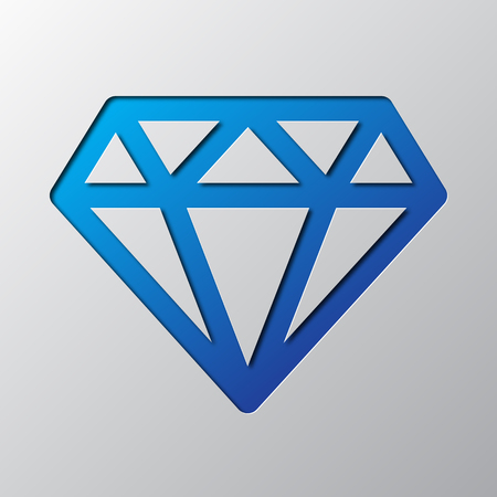 Paper art of the blue diamond isolated vector illustration. Diamond icon is cut from paper.
