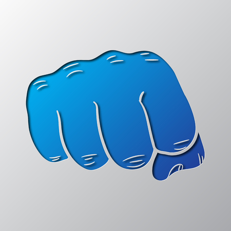 Paper art of the blue fist isolated illustration.