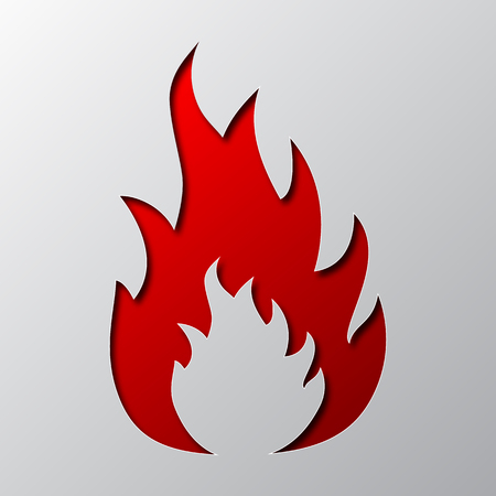 Paper art of the red fire isolated vector illustration. Flame is cut from paper.