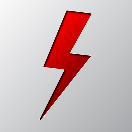 Paper art of the red lightning isolated. Vector illustration. Lightning is cut from paper.