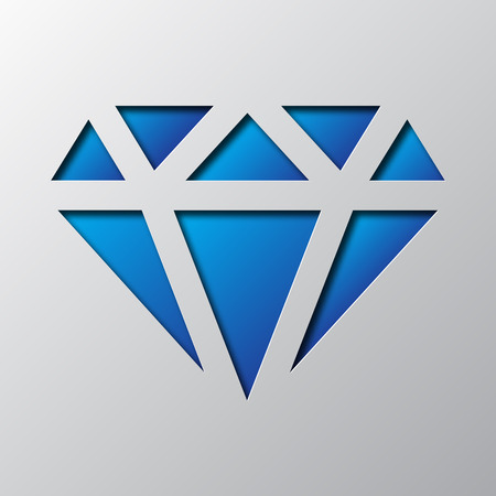 Paper art of the blue diamond isolated. Vector illustration. Diamond icon is cut from paper.