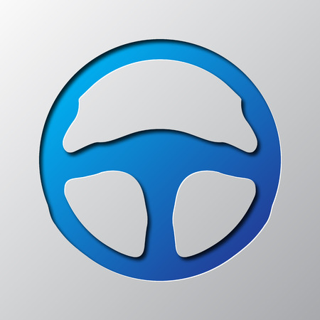 Paper art of the blue steering wheel isolated. Vector illustration. Steering wheel icon is cut from paper.