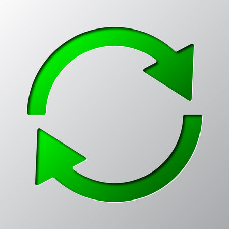 Paper art of the green update symbol isolated. Vector illustration. Update icon is cut from paper.