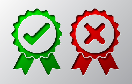 Paper art of the green check mark and red cross. Vector illustration. Approved and reject symbols is cut from paper.