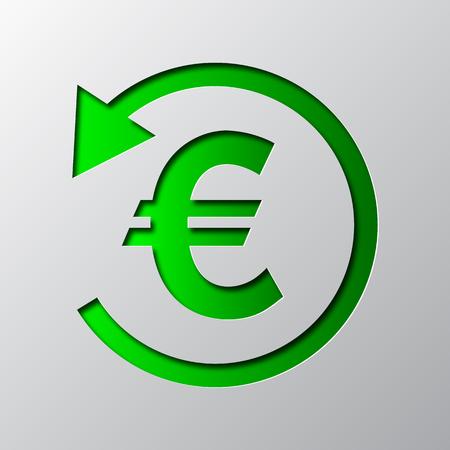 緑色のキャッシュバックシンボルのペーパーアートが分離されています。ベクターの図。キャッシュバックアイコンは紙から切り取ります。