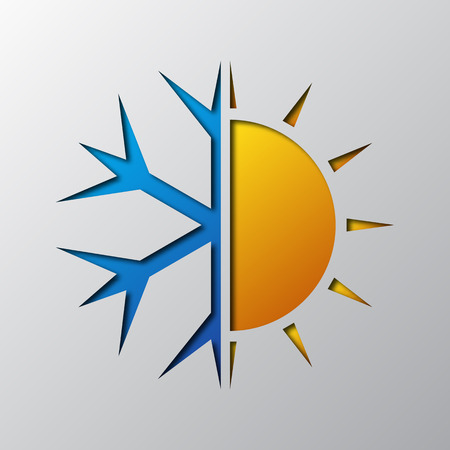 Paper art of the sun and snowflake, isolated. Vector illustration. Symbol of air conditioner is cut from paper. Vettoriali