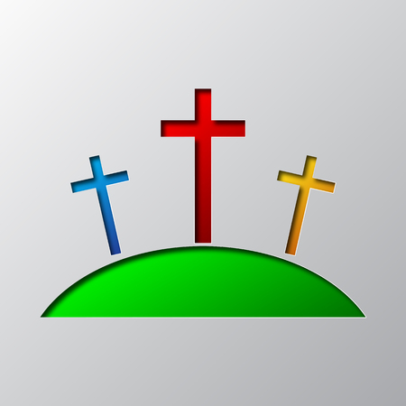Paper art of the symbol of Calvary, isolated. Vector illustration. Christian Calvary symbol is cut from paper.