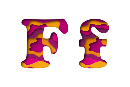 Modern paper art of the colored letter F. Vector illustration. Letter F is cut from paper isolated.