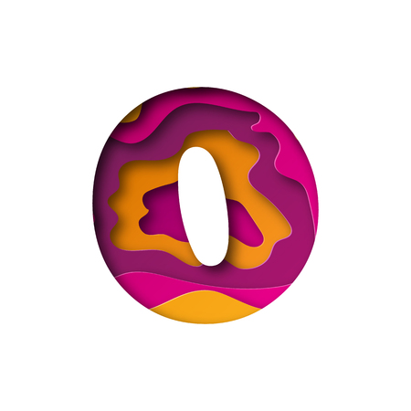 Modern paper art of the colored number Zero. Vector illustration. Number Zero is cut from paper isolated.
