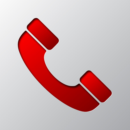 Paper art of red phone icon, isolated. Vector illustration. Phone handset icon is cut from paper.