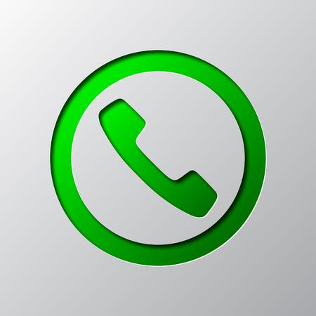 Papier kunst van groene telefoon pictogram vectorillustratie