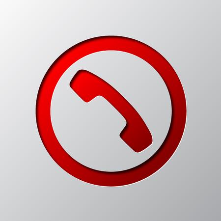 Papier kunst van rode telefoonpictogram, geïsoleerd. Vector illustratie