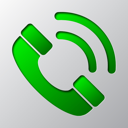 Paper art of green phone icon, isolated. Vector illustration.
