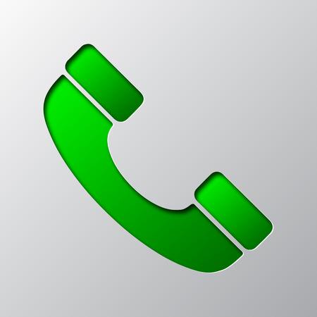 Papier kunst van groene telefoonpictogram, geïsoleerd. Vector illustratie