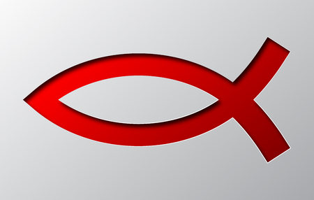 The Christian Fish Symbol is carved from paper.
