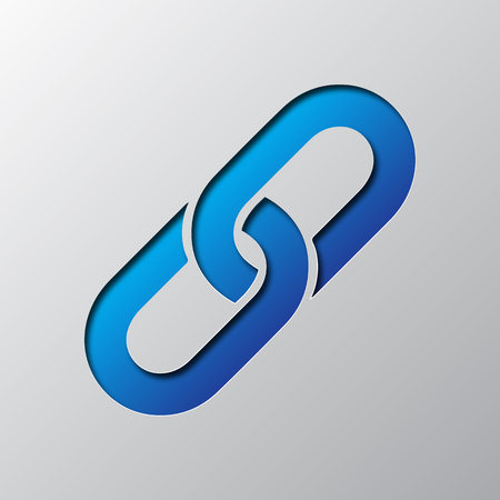 Chain link icon in blue color illustration.