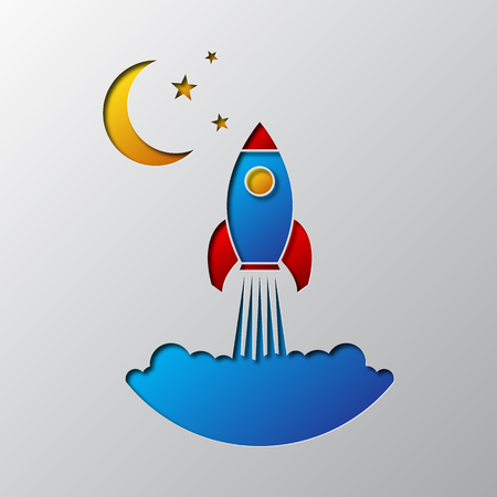 The space rocket icon carved from paper. Vector illustration. Paper art of the colored space rocket, isolated.