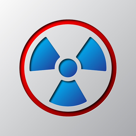 Paper art of radiation symbol, isolated. Vector illustration. Radiation symbol is cut from paper.