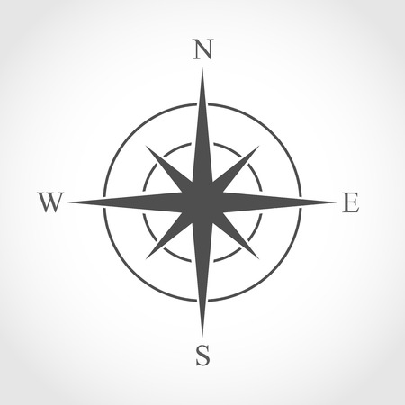 Compass icon in flat design. Vector illustration. Compass icon, isolated on light background Illustration