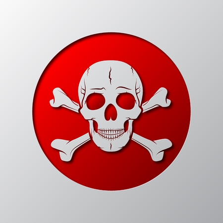 Skull and crossbones is cut from the paper. Vector illustration. Paper art of the red skull and crossbones, isolated.