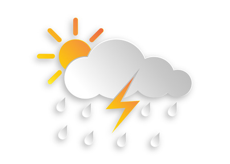 Paper art Hard Rain icon on white background. Vector illustration. Paper art storm concept