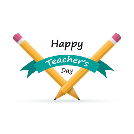 Happy Teachers Day banner with pencils and ribbon, isolated on white background. Vector illustration. Vector Illustration