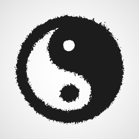 Black drawing of the Yin Yang symbol in doodle style. Vector illustration. Hand drawn Yin Yang symbol, isolated.
