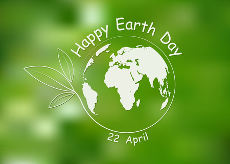 Happy Earth Day, greeting card. Vector illustration. Earth day, 22 April, banner with lettering and with Globe
