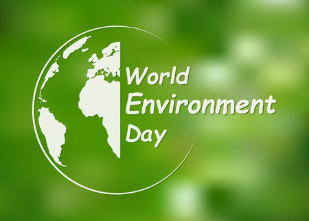 World Environment Day banner. Vector illustration. Globe with lettering on bright green background.