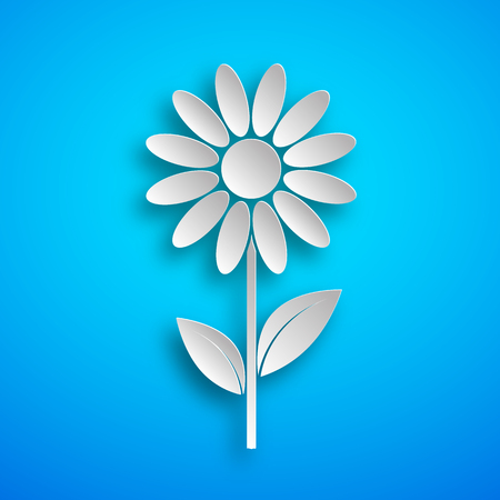Paper art of the white flower icon with shadow. Vector illustration. Flower is cut from paper.