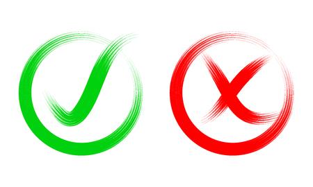 Hand drawn red cross and green check mark. Vector illustration. Symbols of Like and Dislike in a circle, isolated. Vectores