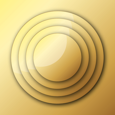 Gold background from circles with shadow. Vector illustration. Glossy gold metal background  イラスト・ベクター素材