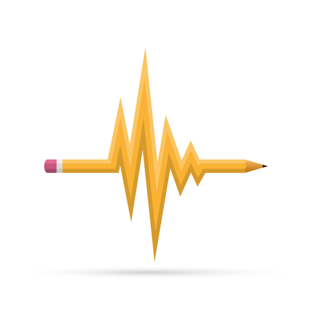 Wavy pencil as a symbol of heartbeat. Vector illustration. Abstract pencil isolated on white background.