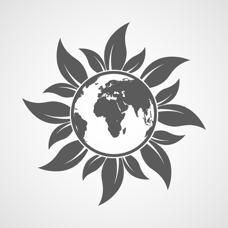 Globe icon with leaves on light background. Vector illustration. Ecology concept