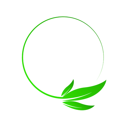 Green leaf nature circle isolated. Vector illustration. Concept of green energy. Nature herbal organic leaf Illustration